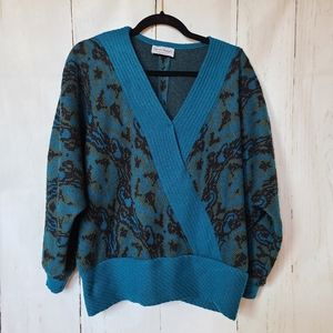 Three flags 80s faux wrap vintage sweater v-neck